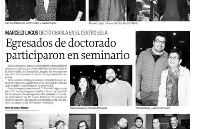 """EGRESADOS DEL DOCTORADO PARTICIPARON EN SEMINARIO, """"NOTICIA DIARIO EL SUR"""""""