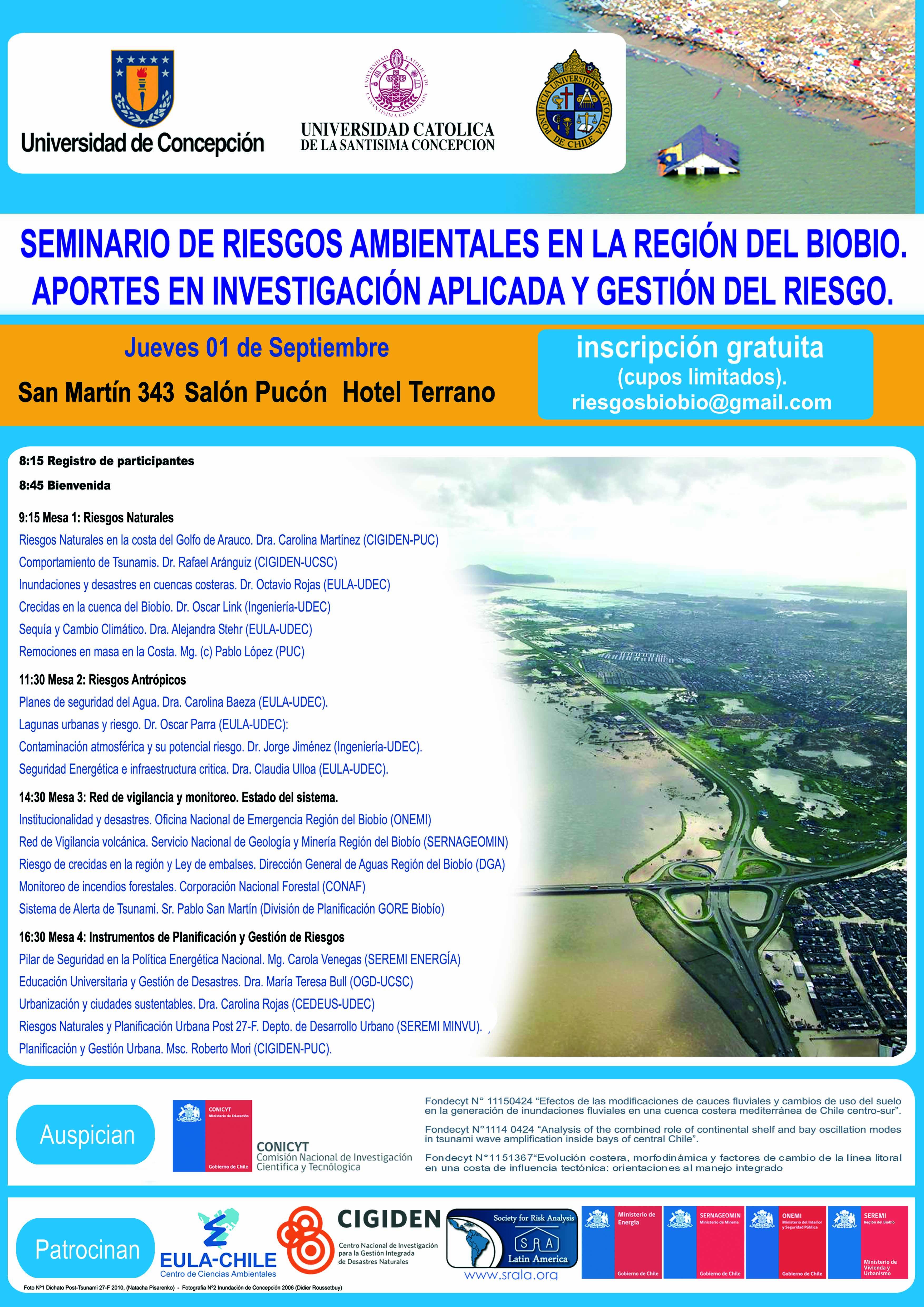 Seminario Riesgos Ambientales en la Región del Biobío. Aportes en Investigación Aplicada y Gestión del Riesgo.