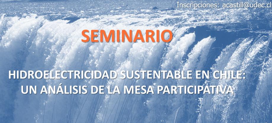"""Seminario """"HIDROELECTRICIDAD SUSTENTABLE EN CHILE: UN ANÁLISIS DE LA MESA PARTICIPATIVA"""""""