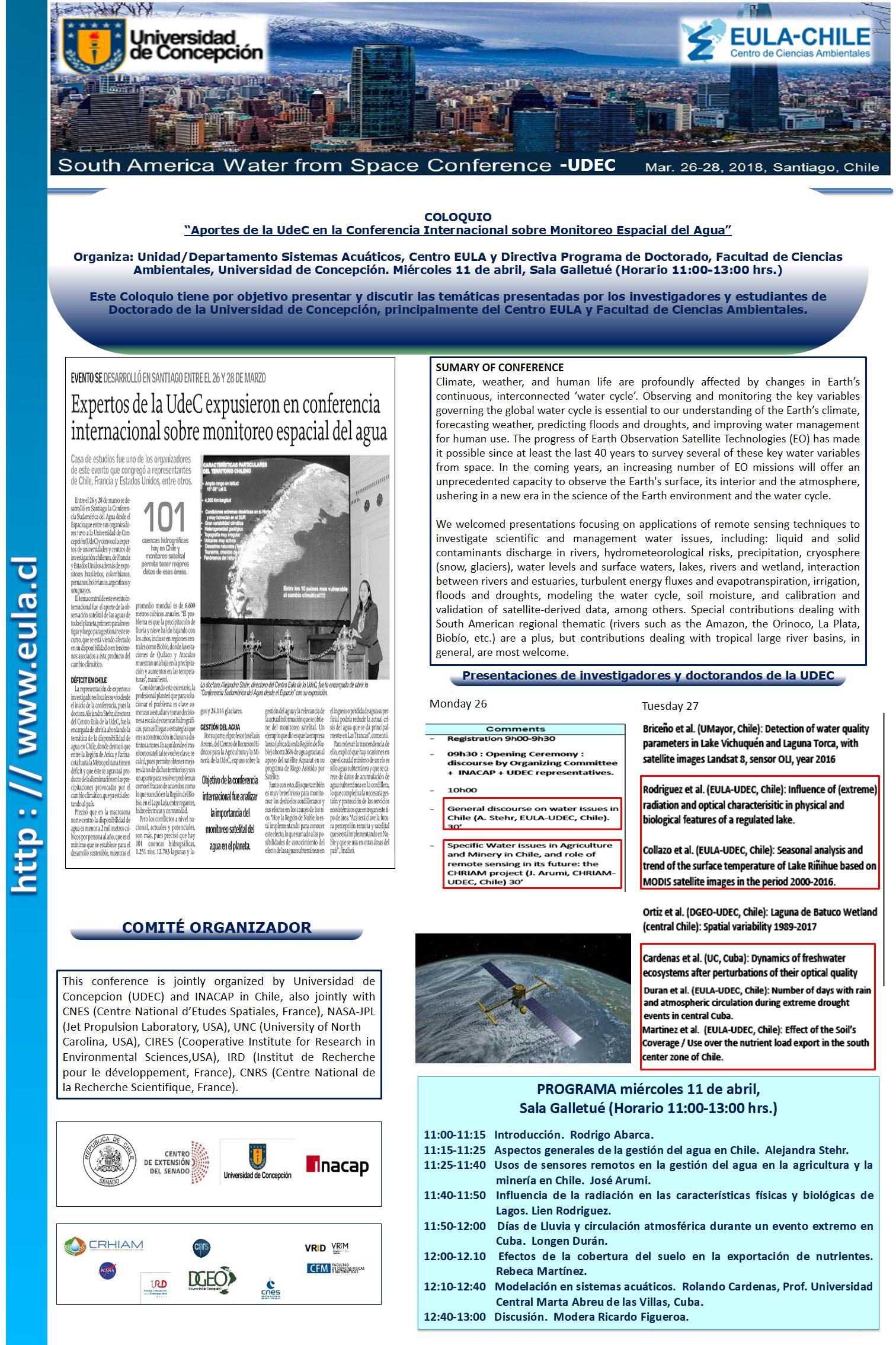 """COLOQUIO  """"Aportes de la UdeC en la Conferencia Internacional sobre Monitoreo Espacial del Agua"""""""