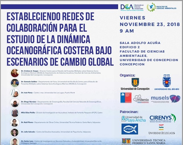 """Workshop, titulado """"Estableciendo Redes de Colaboración para el Estudio de la Dinámica Oceanográfica Costera bajo Escenarios de Cambio Global"""