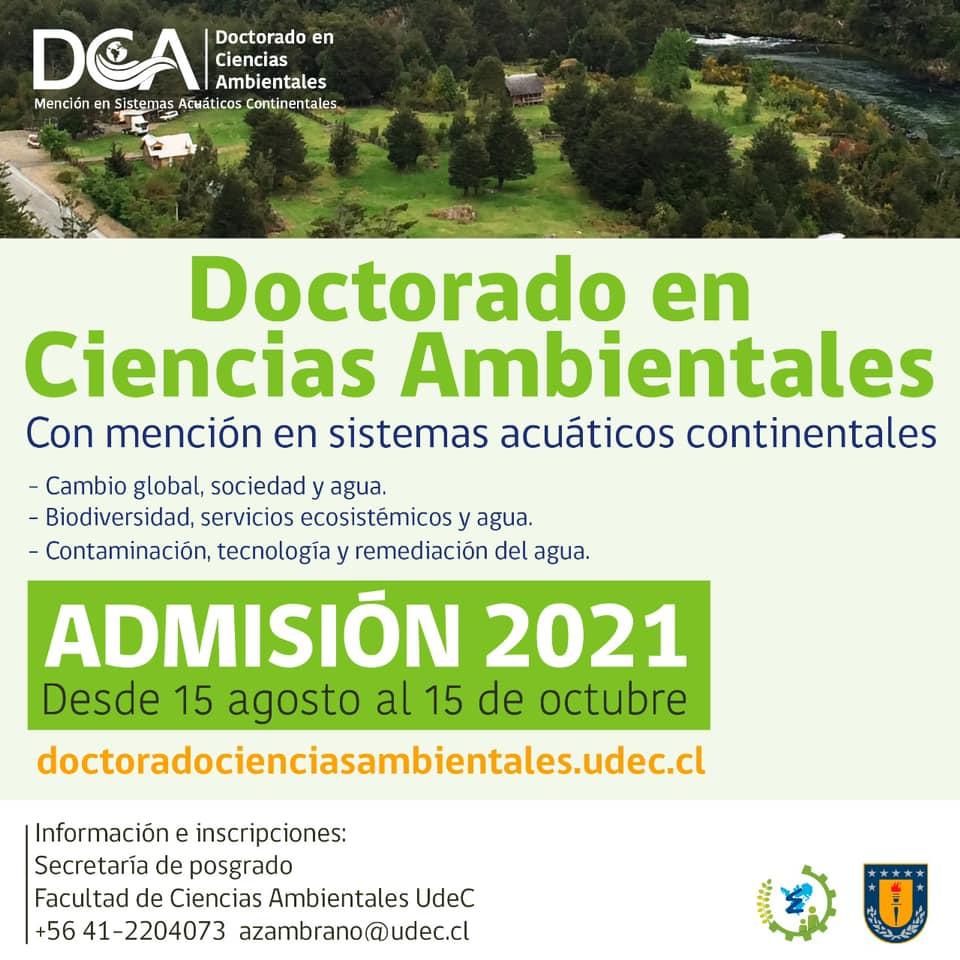 INICIO POSTULACIONES AÑO 2021 DOCTORADO EN CIENCIAS AMBIENTALES